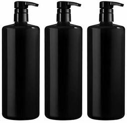 Bar5F Empty Shampoo Bottle with Pump, Black, Great 1 Liter/3