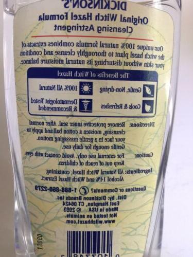 Dickinson's Witch Hazel Formula 100% Cleansing Astringent,